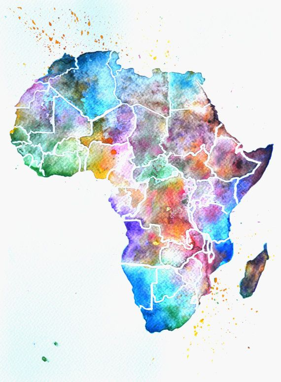 Original Africa Watercolour Map 9x12 Inches By Nickimatthewsart