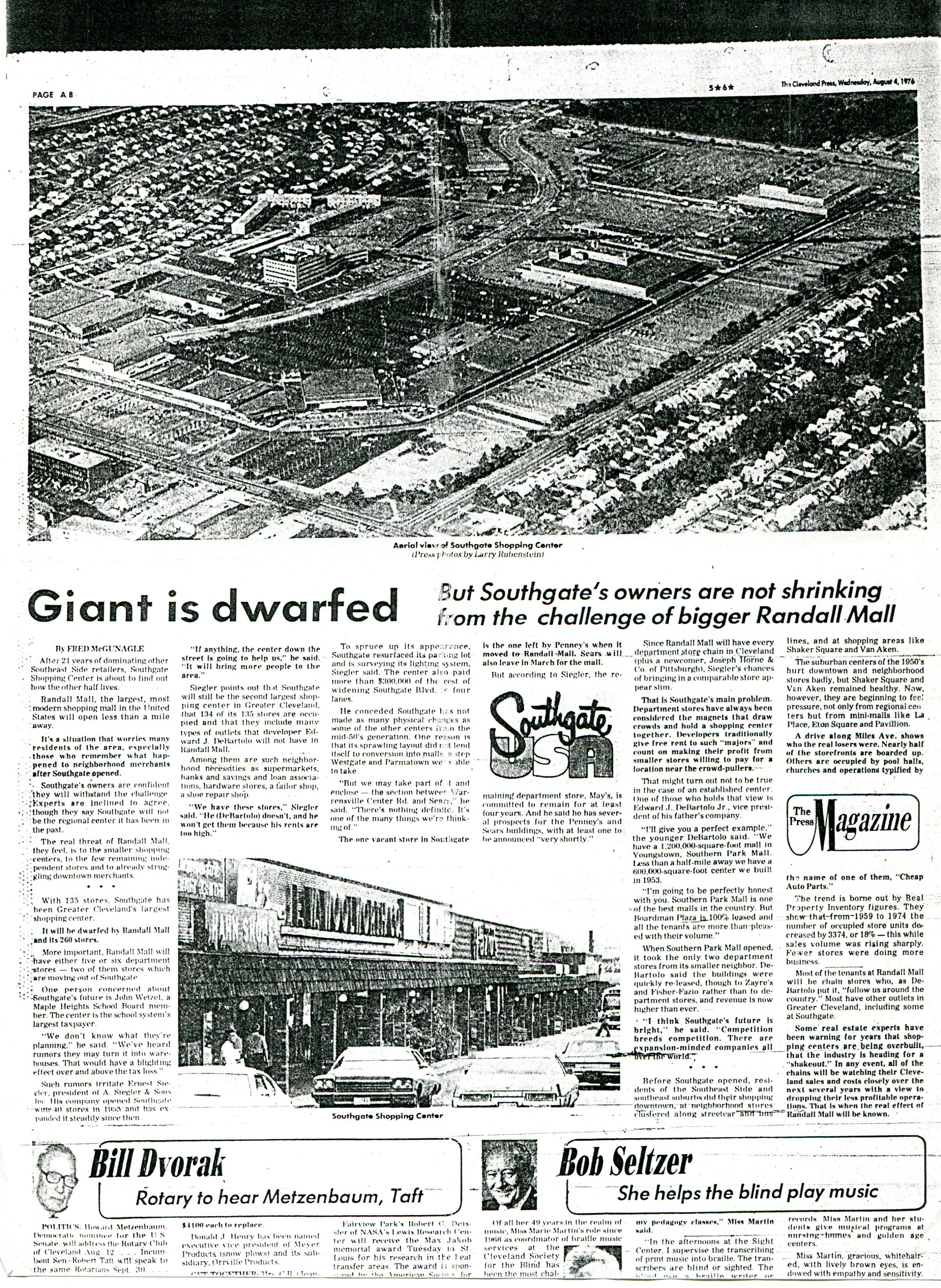 Article about Southgate during Randall Park Mall grand opening.