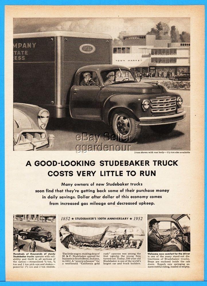 1952 Studebaker Box Truck 2 Ton Van Body Pickup Vintage Advertising Ebay Studebaker Vintage Advertisements Trucks