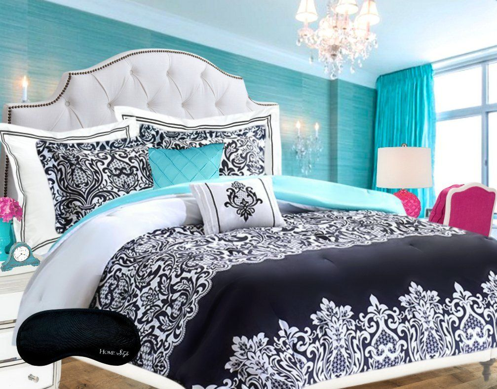 Black and white damask bedding queen - Teen Girls Bedding Damask Comforter Super Set Black And White Aqua Teal Twin Twin Xl