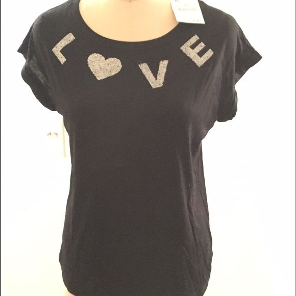 Love ❤️ T-Shirt form Zara NWT Perfect for Valentines Day.. Love T-Shirt Just enough Bling NWT never worn .. Great with jeans  Zara Tops Tees - Short Sleeve