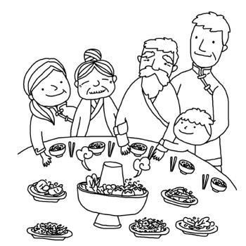 Greet The Chinese New Year With Dinner Coloring Pages