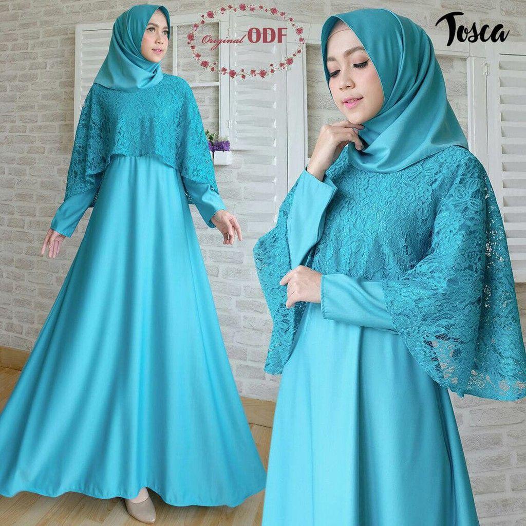 Baju Gamis Hijau Tosca di 9  Gaun perempuan, Hijau, Baju muslim