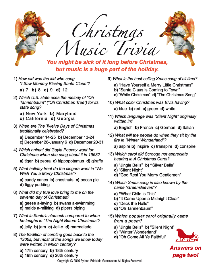 Christmas Music Trivia questions and answers game