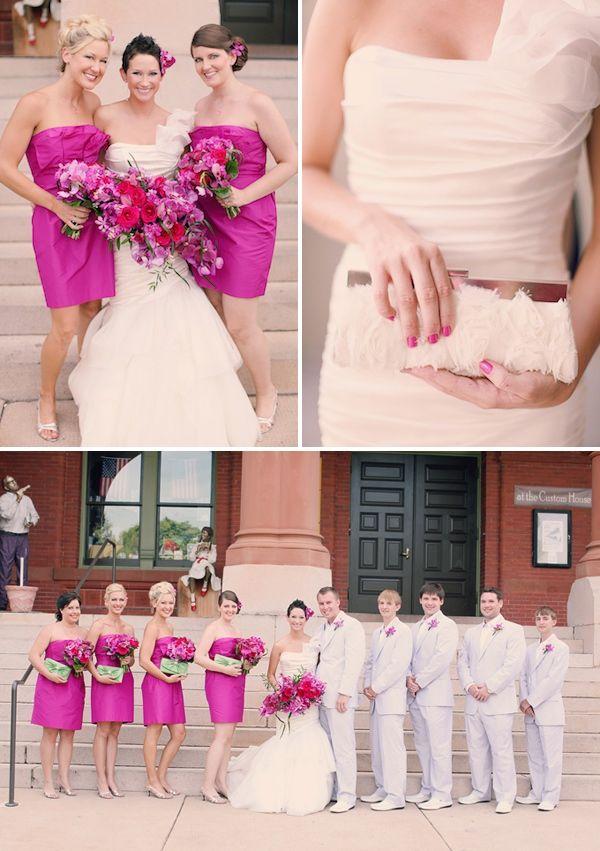 Fuschia and white wedding dresses
