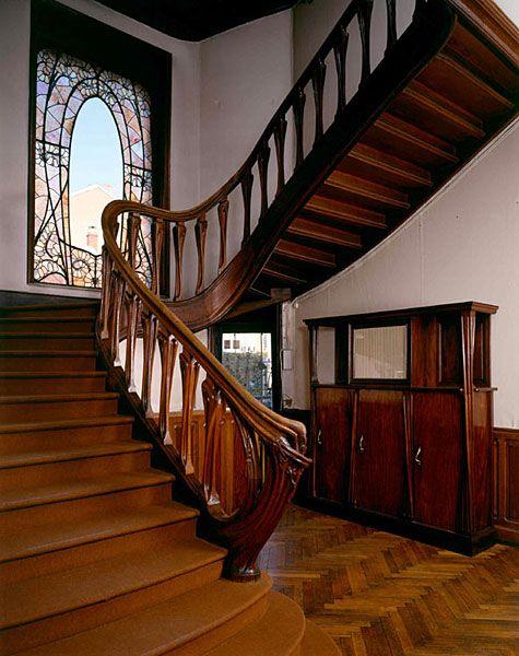 Ecole De Nancy Les Pieces De La Villa Majorelle Meubles Art Nouveau Architecture D Escaliers Architecture