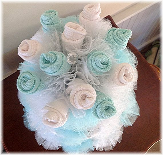 3 Tier Baby Sock Bouquet Burp Cloth Cake Teal By