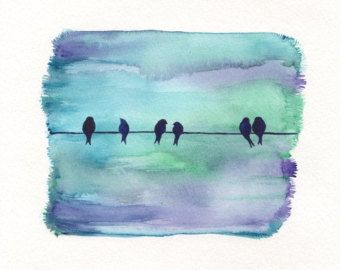 Morning Meeting Birds On A Wire Night Sky Blue Purple Green
