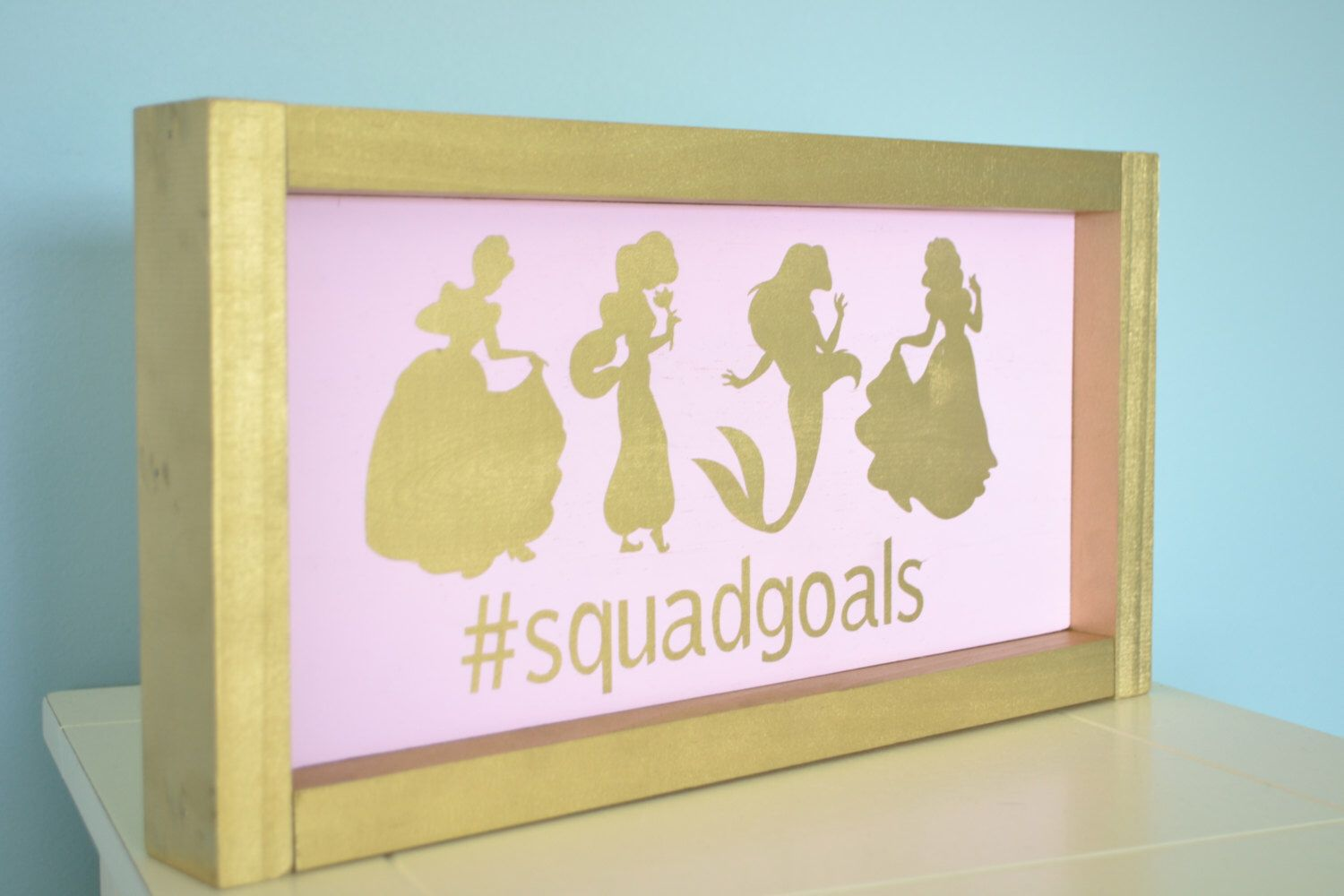 Disney Princess Silhouette Sign // Nursery Girl Sign // Pink gold ...