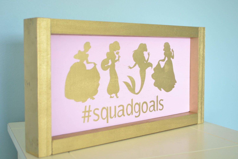 Disney Princess Silhouette Sign // Nursery Girl Sign // Pink gold ...