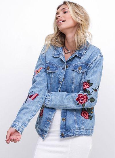 Jaqueta Jeans Boyfriend Bordada Elegante f50bb1f98ef