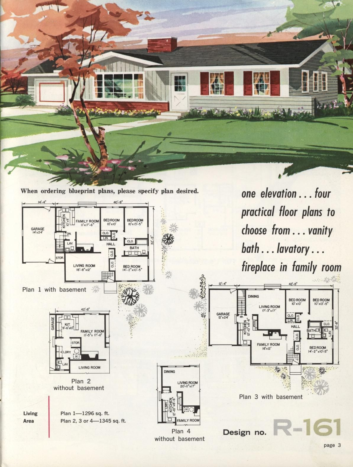 Town country ranch homes 1962 vintage house plans for New houses plans