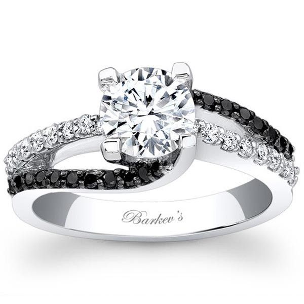 """Barkev's 14K White Gold and Black Diamond Swirl """"Whirlwind"""" Engagement Ring. See it now at www.BenGarelick.com"""