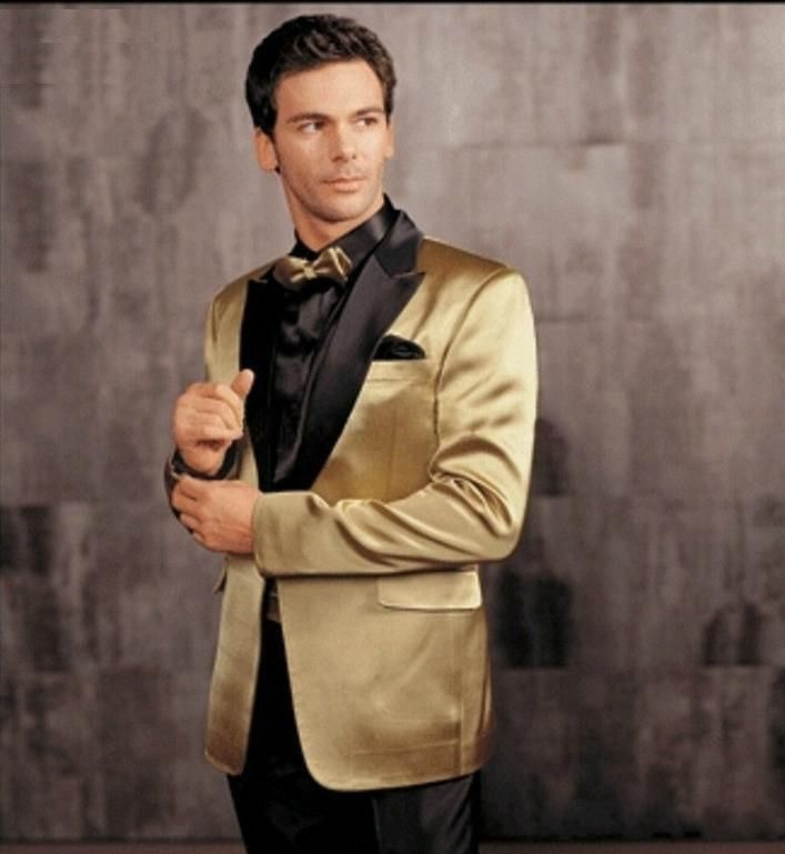 Gold jacket with black lapel groom tuxedos groomsmen for Black tuxedo shirt for men