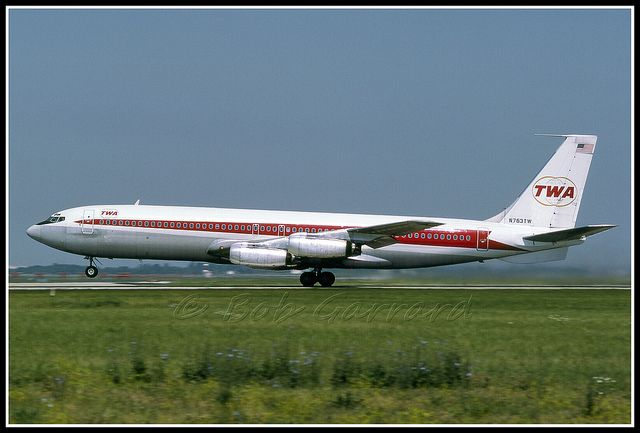 N763TW Trans World Airlines - TWA Boeing 707-331 Rotating on runway 22L at ORD in June, 1977. Delivered in November, 1959, and flew for TWA 20 years before going to Air Berlin as N763AB