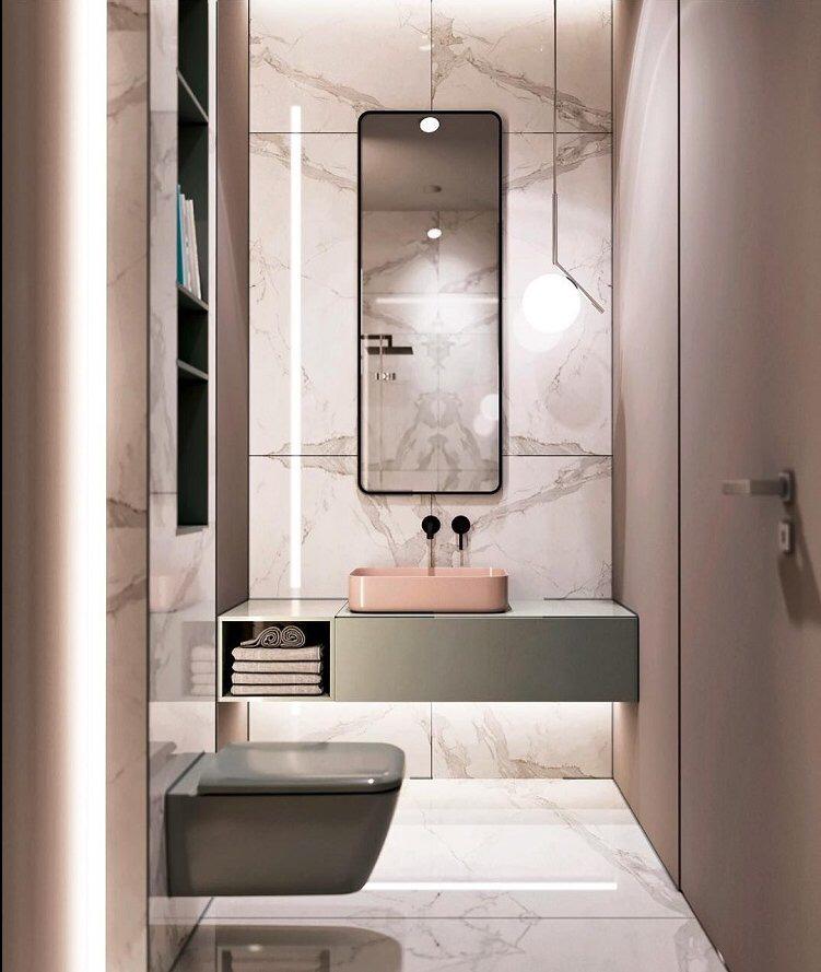 Salle de bain en marbre moderne en 40 id es fra ches et - Concevoir salle de bain ...
