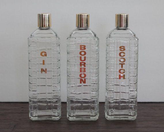 Vintage Karoff Liquor Decanters Set Of 3 Gin By Pendletonmarket Liquor Decanter Liquor Decanter Set Decanter Set