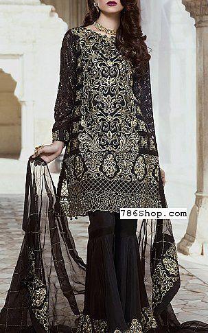 Black Chiffon Suit | Buy Embroyal Luxury Pakistani Dresses and ...