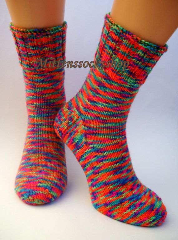 hand knitted warm socks rainbowspecial sock yarnautumn gift ideaautumn color socks yarnchristmas gift idearainbow color socks