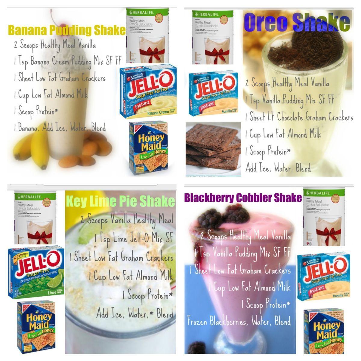 Herbalife Shake Recipe Made With French Vanilla Formula 1 Banana Pudding Oreo Key Lime Berry Cobbler