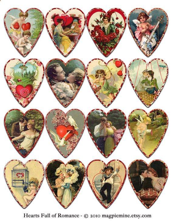 Herz voller Romantik digitale Collage Sheet von MagpieMine auf Etsy
