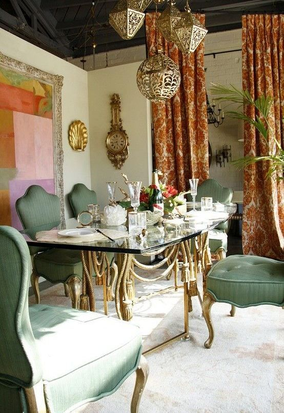 Brilliant Bohemian Dining Room Table With Classic Pendant Lam And Furniture Colorful Curtain Ethnic Design