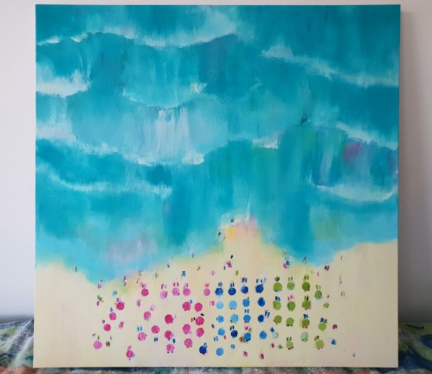 Beach Painting Acrylic On Canvas Birdseye View Ocean Sand