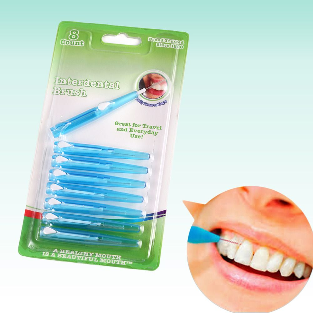 8 pcs push pull interdental brush 07mm portable teeth