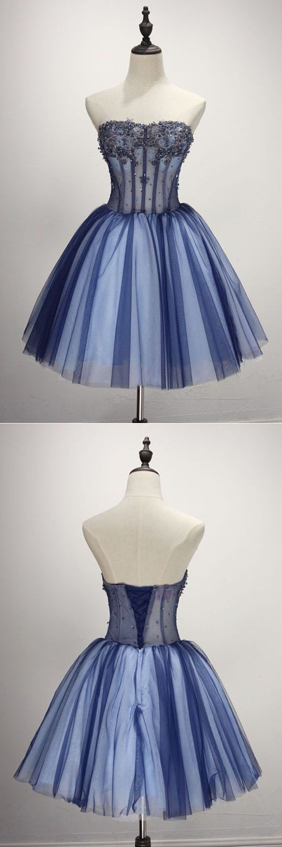 Charming a line sweetheart backless navy and white tulle short