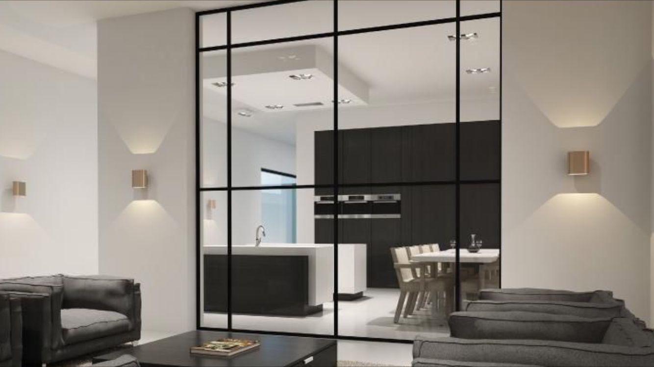 Glazen afscheiding woonkamer en eetkamer | Interieur | Pinterest