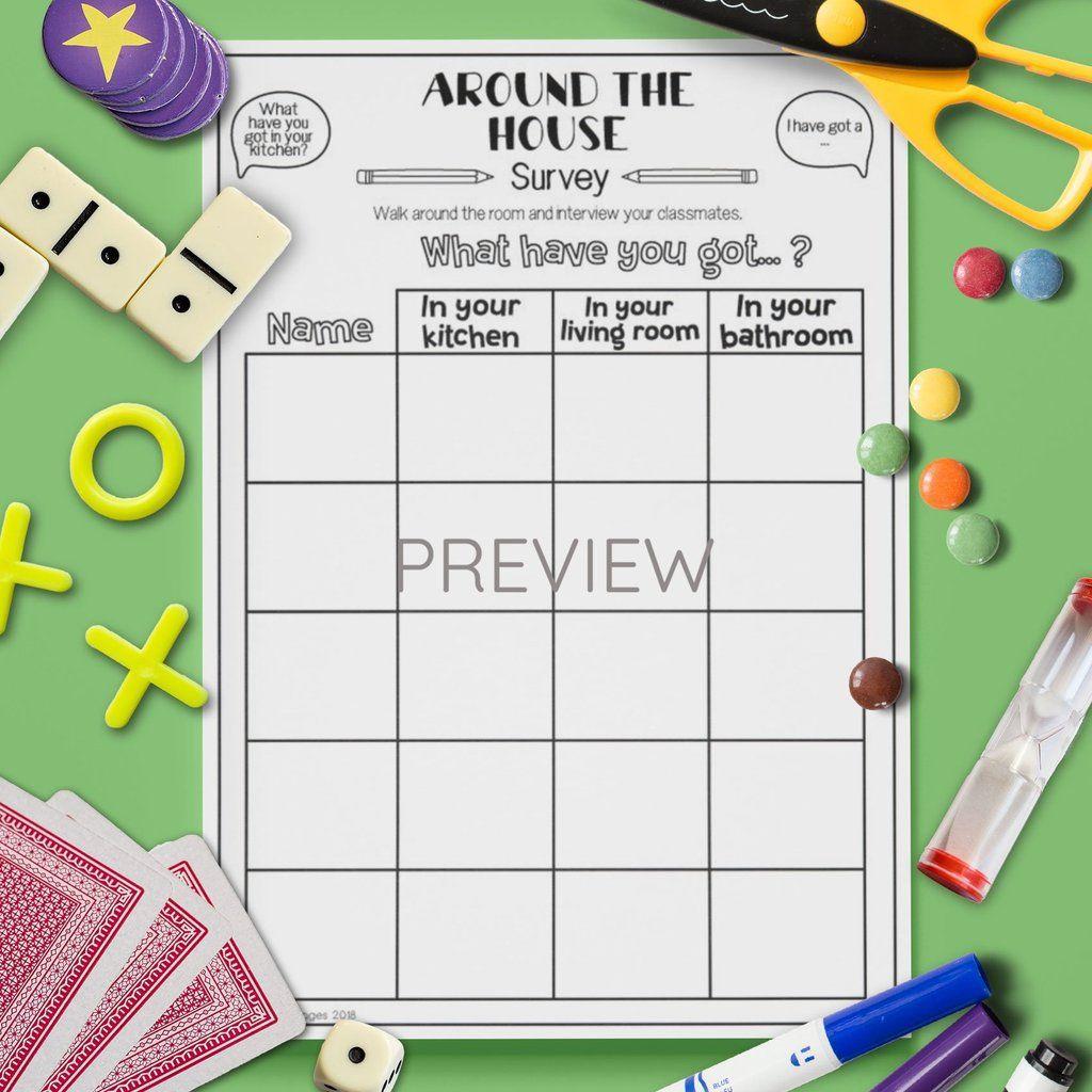 Around The House Class Survey Speaking Activities Class Surveys