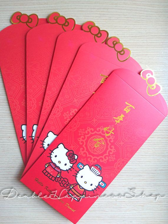 hello kitty wedding cute long tall red packet red envelope money
