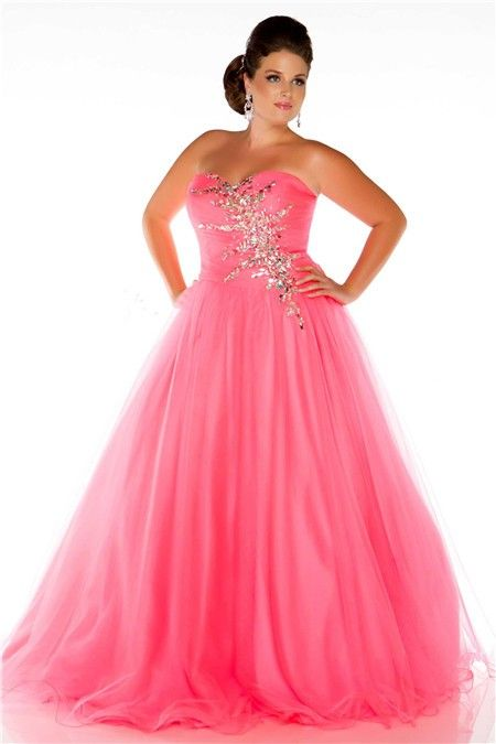 Glamorous A Line Strapless Long Neon Coral Tulle Beaded Plus Size ...