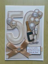Luxury Hand-Made Golden (50th) Anniversary Card-Can Be Personalised