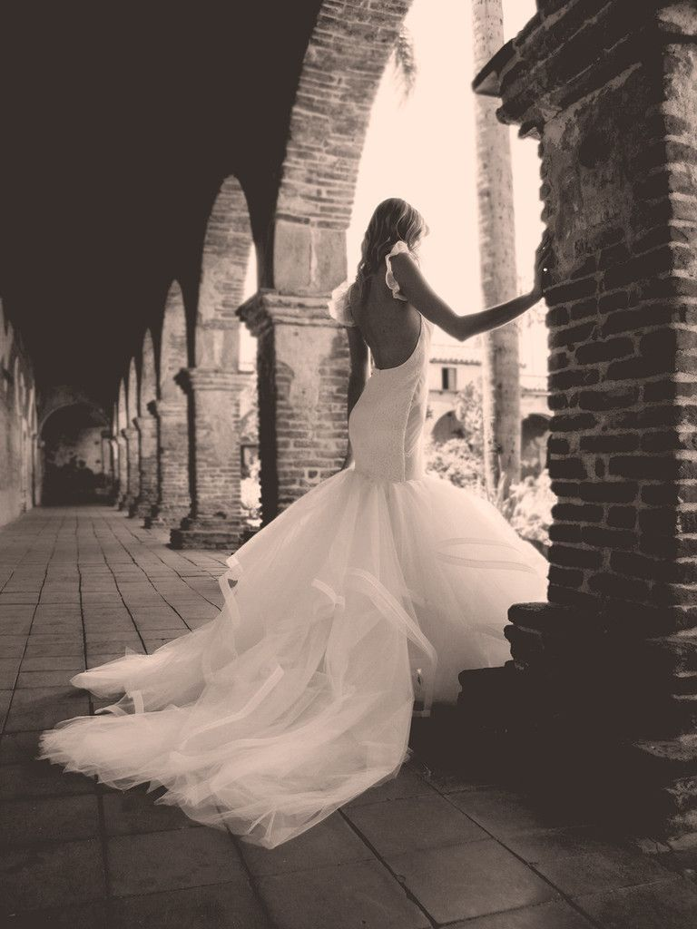 Lace mermaid wedding dress with cathedral train  Vivianna  Cathedral train Couture bridal and Horsehair
