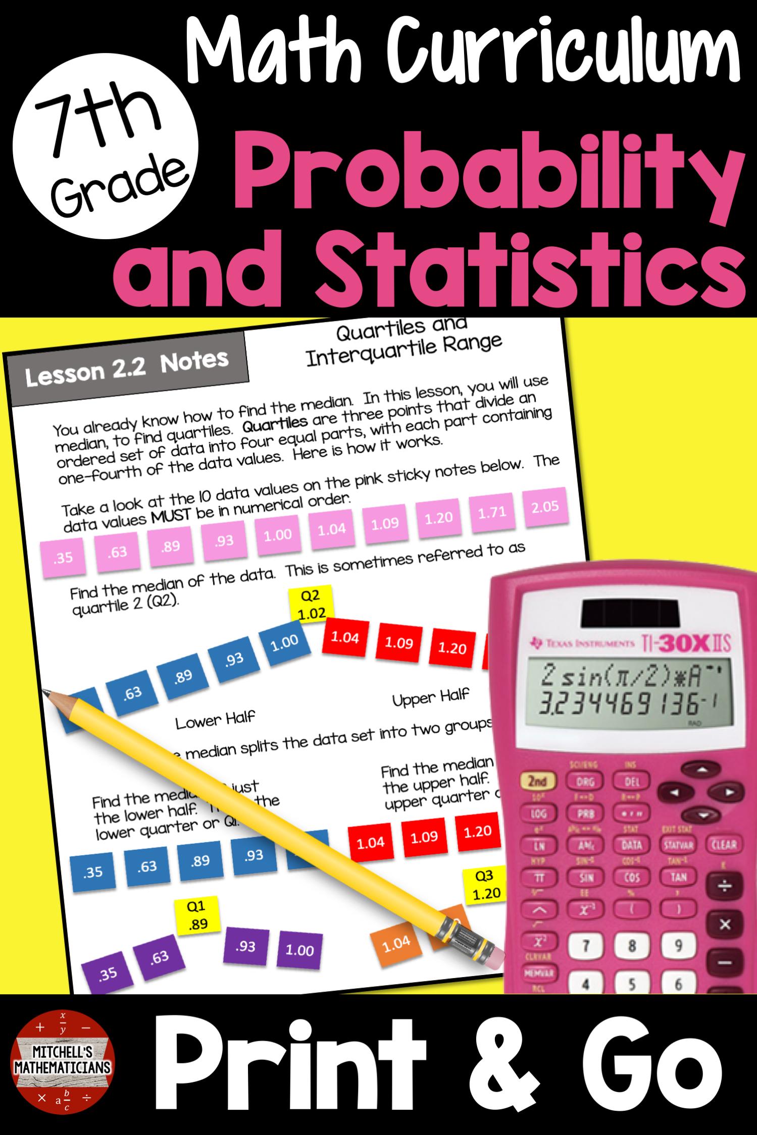 7th Grade Probability And Statistics Math Unit