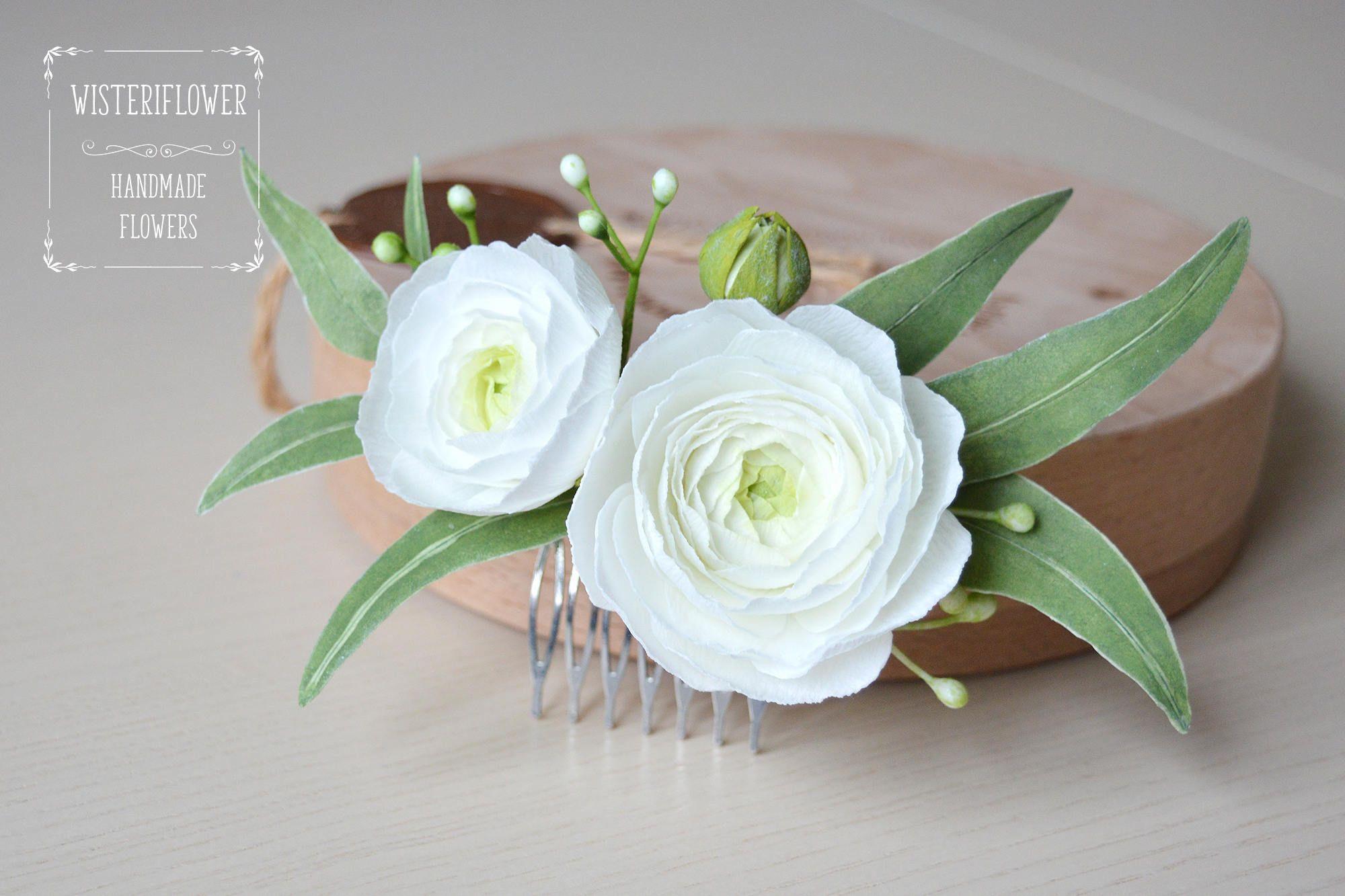 White Green Wedding Eucalyptus Wedding Hair Comb Ranunculus Greenery
