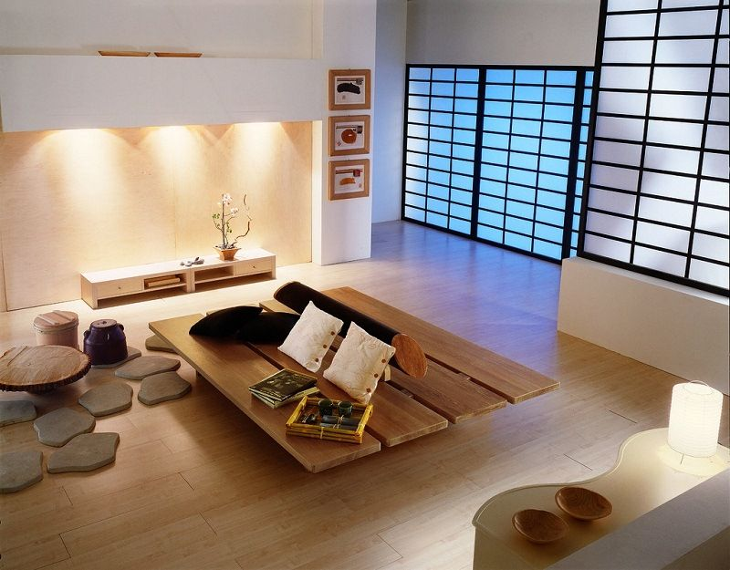 Living Room. Japan Style Living Room Design Ideas. Brilliant White Stained  Plastering Wall Brown Varnished Wooden Living Table Black Stained Wooden  Frame ...