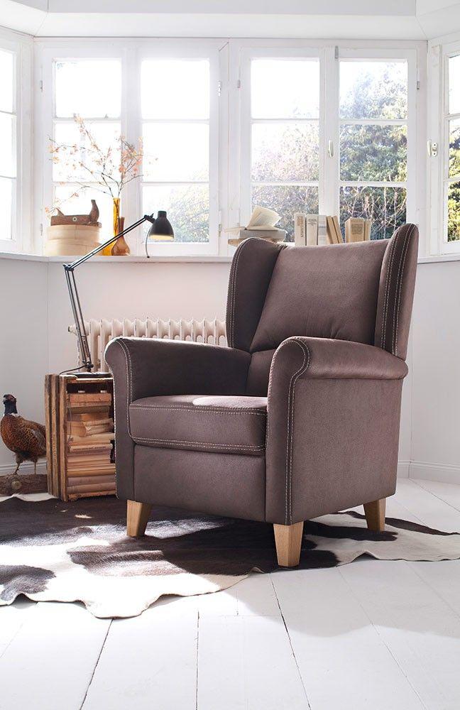 eleganter Sessel Malte | gemütlicher Ohrensessel in Braun mit ...