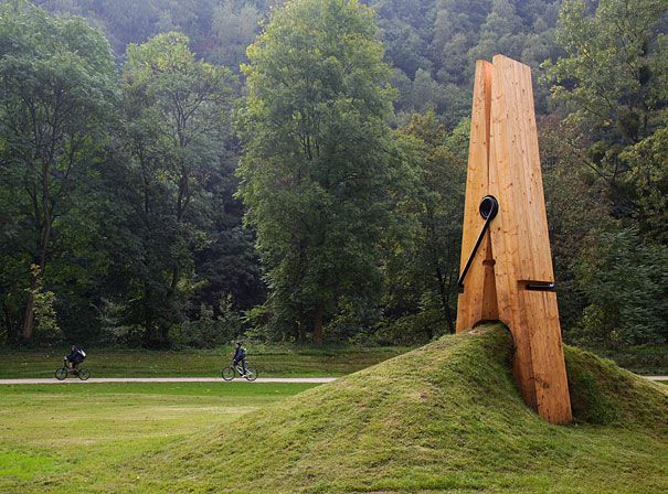 giant clothespin sculpture was created by a Turkish art professor Memet Ali Uysal for the Festival of the Five Seasons in Chaudfontaine Park, Belgium.