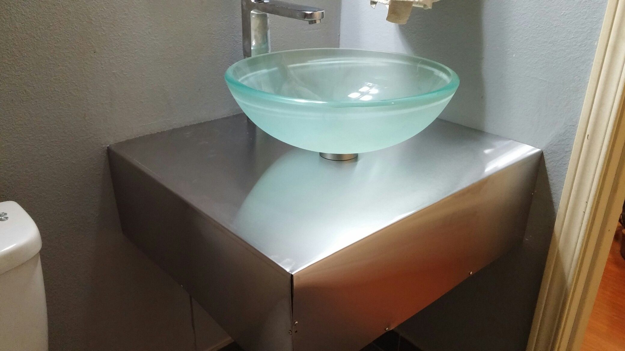 Pin by Bogdan on stainless steel floating bathroom vanity with glass ...