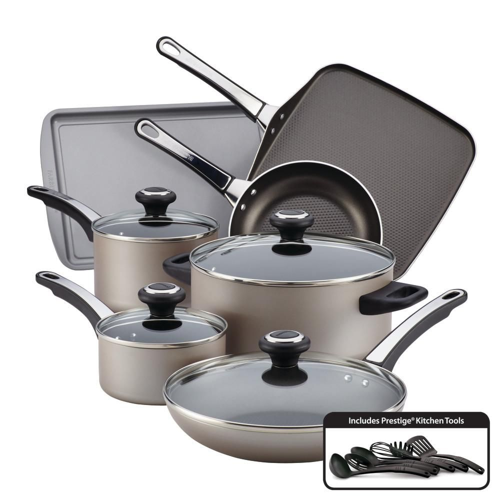 Farberware High Performance 17 Piece Chocolate Cookware Set With
