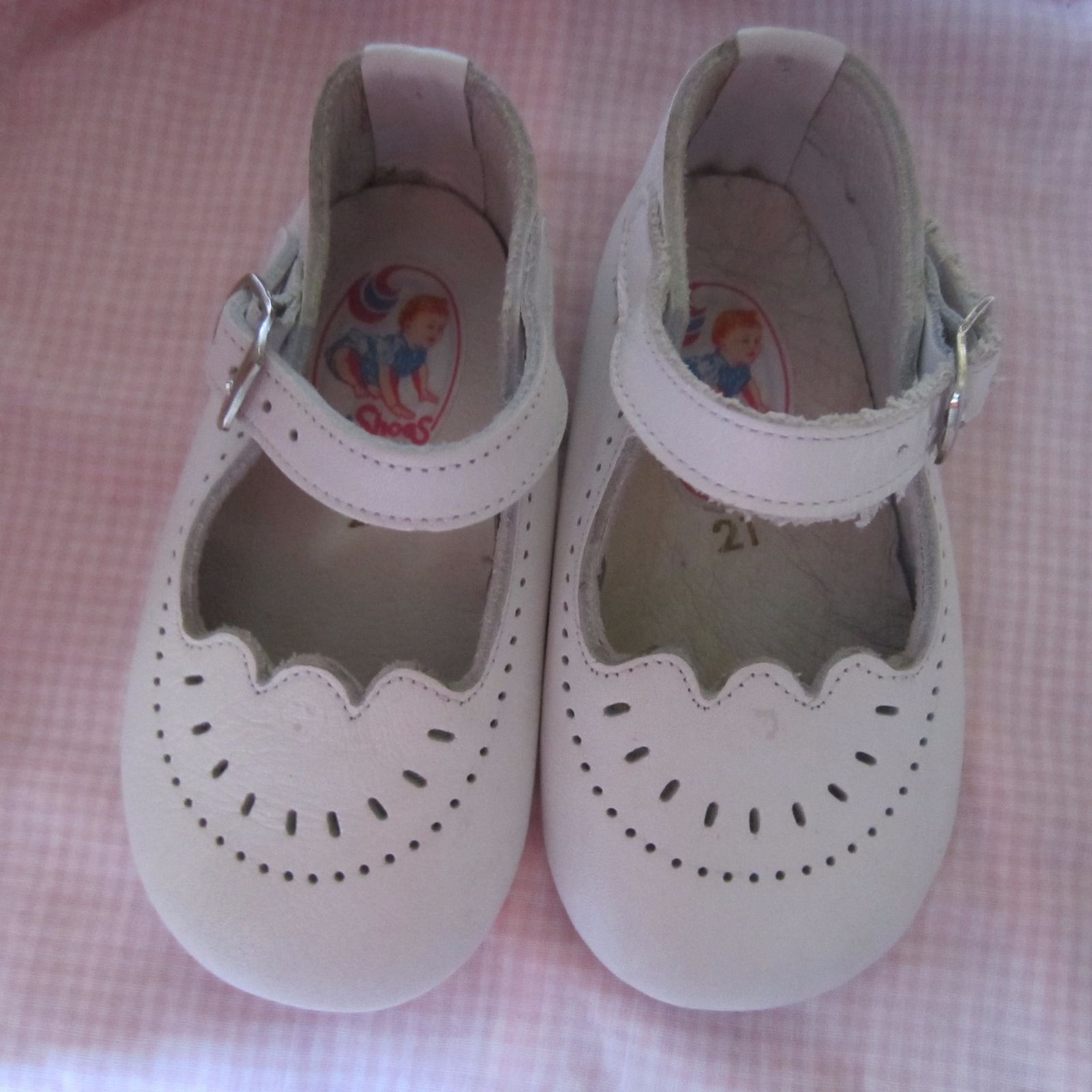 Vintage White Leather Shoes For Child Or Large Doll