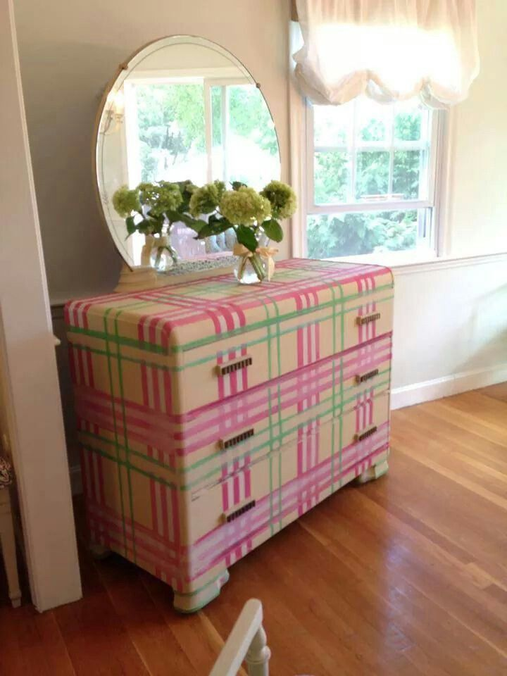Pink And Green Plaid For An Old Waterfall Dresser