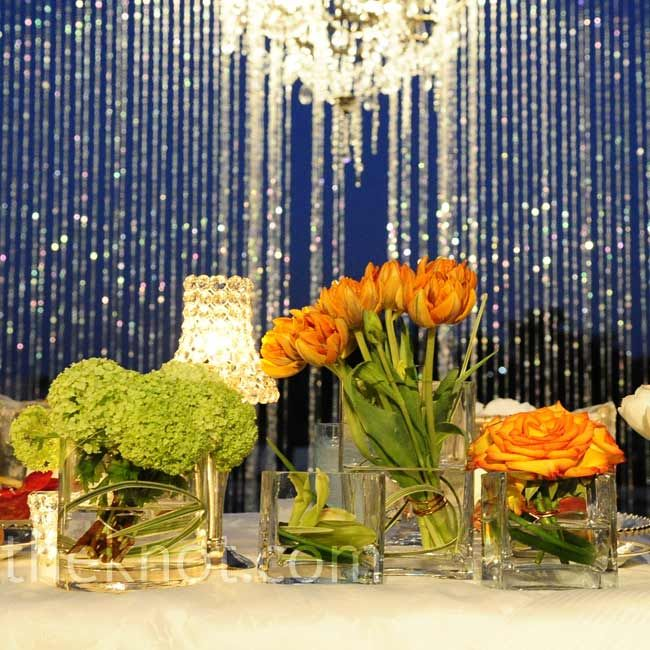 Evening Wedding Reception Decoration Ideas: Johari + Jimmy The Crystals Hanging Behind The Head Table