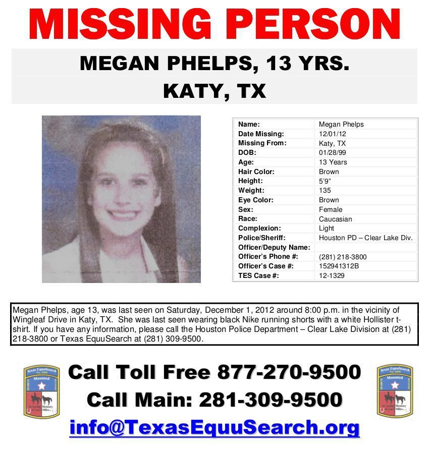 Missing Persons of America Megan Phelps 13-year-old missing from - missing person flyer template