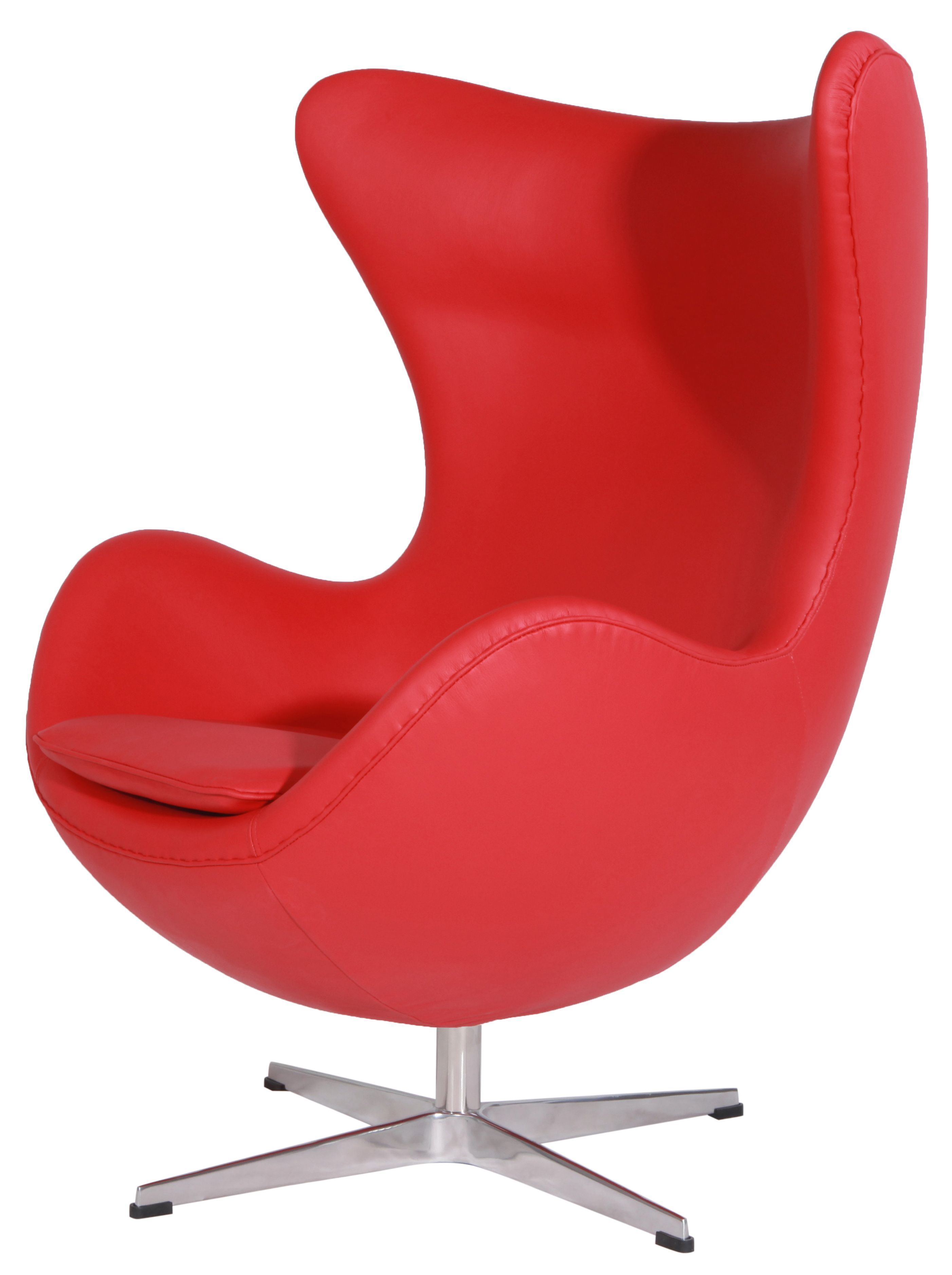 Red Italian Leather Egg Chair And Ottoman Chairottoman