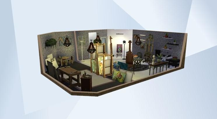 Check out this room in The Sims 4 Gallery! - Art studio #artstudio #modern #art