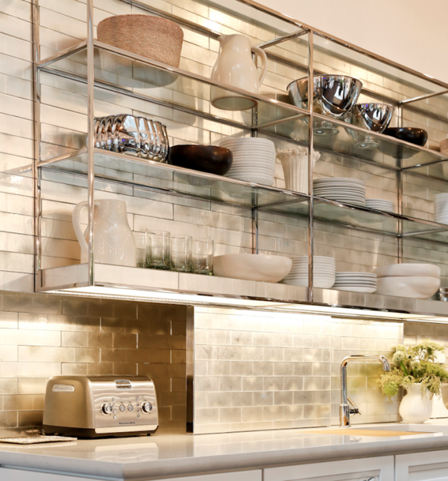 I love the industrial chic stainless shelves... kind of like a ...