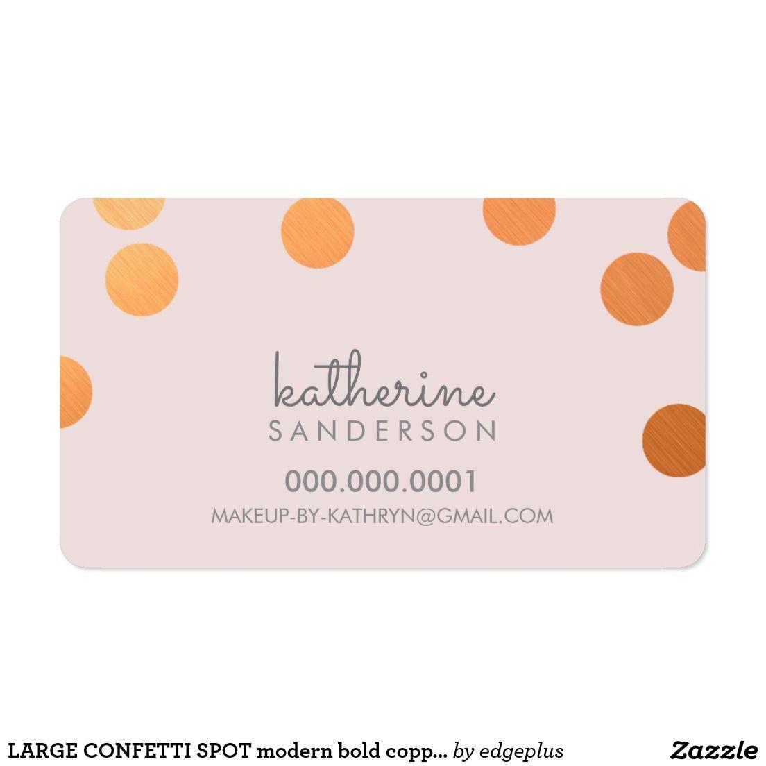 LARGE CONFETTI SPOT modern bold copper faux foil pink Business Card ...
